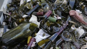 Broken bottles fill a grape bin at Saintsbury winery in Napa after Sundays earthquake. (credit Eric Risberg)