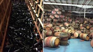 Many bottles and barrels were broken across the Napa Valley winemaking region after Sundays earthquake.
