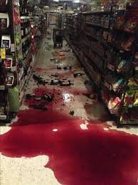 Wine spilled onto the floor of a Walgreen in Vallejo after the 6.0-magnitude Napa earthquake.