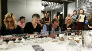 Joy Sterling of Iron Horse Winery (left) and members of the media at the 1st Annual Sommelier Scavenger Hunt.