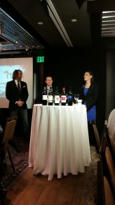 Team Washington: Mark Hefner of Crush Wine Bar MGM in Las Vegas, Will Costello of Madrid Oriental in Las Vegas and Lindsey Whipple of Charlie Palmer Group in New York, focus on Bordeaux-Variety Reds from Washington State.