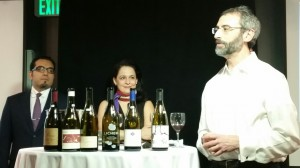 Team Anderson Valley: The Houston contingency of Christian Varas of River Oaks Country Club, Vanessa Trevino Boyd of 60 Degrees Mastercrafted and Steven McDonald of Pappas Bros. Steakhouse (behind Wine & Spirits Publisher & Editor Joshua Greene) get ready to discuss the beauties of Pinot Noirs from Anderson Valley in Mendocino County.