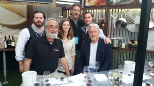 Merlot Seminar at #NVFF2014  (Clockwise from bottom left): Winemaker Tom Rinaldi, Provenance & Hewitt Wines; Sean Quinn, Wine Program Manager of #NVFF2014; Winemaker Chris Carpenter, La Jota & Cardinale Wines; Chris Sawyer (me); Wine Writer Jim Laube, Wine Spectator; and Hailey Trefethen, Trefethen Winery.