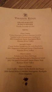 Dazzling  Judges Dinner menu prepared by Rosso Pizzeria at Paradise Ridge Winery.