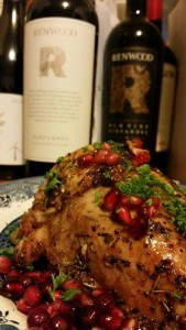 Pomegranate chicken with delicious Renwood Zinfandel!