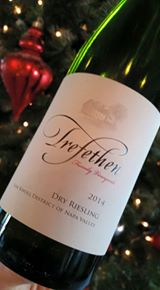 Trefethen 2014 Dry Riesling: Enchanting aromas of ripe fruits, citrus, chamomile, jasmine and white pepper. Vibrant flavors of white peach, apricot, apple, lime, grapefruit peel, and burst of bracing acidity.  Crisp, clean and bright. Holiday pairings: young cheeses, spring rolls, soups, salads with citrus vinaigrette, shellfish, light fish dishes, roasted chicken, and spicy Asian cuisine. $25.