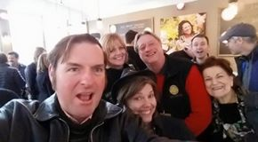 Selfie Delux with great friends from Sonoma County Vintners, Sonoma County Tourism, and a happy photo bomber in the background! — with Carolyn Stark, Capo Creek Winery, Ken Fischang, #designatedphotobomber and Marta Hayden at SB50 Super Bowl City.