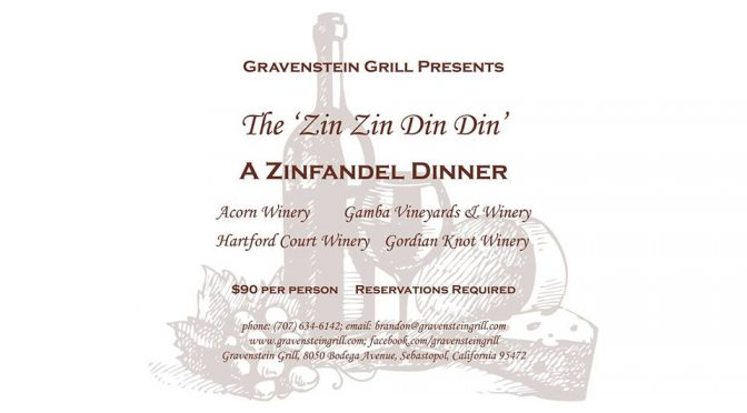The Menu!  Zin Zin Din Din on August 10th